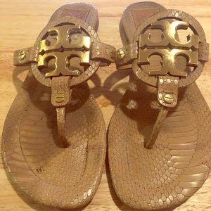Tan snake print Tory Burch Sandals